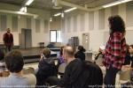Undergraduate Taurean Hogan gets a lesson from Constantine Maroulis