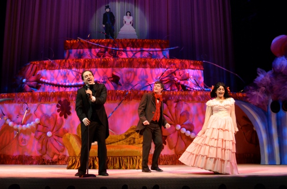Brent Griffith (Podkoliosin), Ty Mitchell (Kochkariev), Annie Keris (Agafya)Photo: Kevin Replinger
