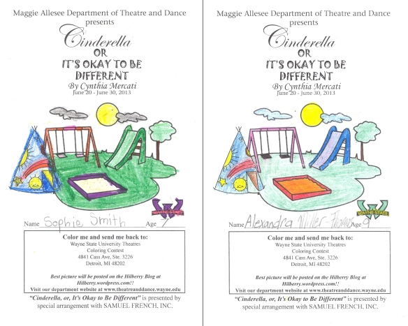 """Cinderella"" Coloring Contest Winners, Alexandra Miller-Thomas and Sophie Smith"