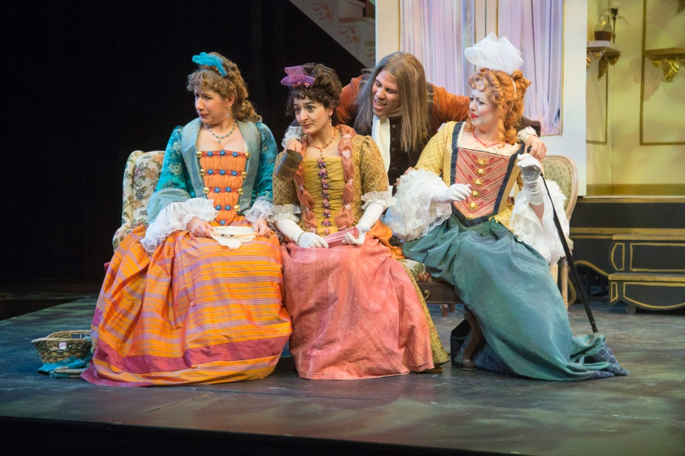 """From left: Sarah Hawkins Moan, Annie Keris, Santino Craven and Bevin Bell-Hall in Hilberry Theatre's production of """"The Way of the World."""" (Photo: Bruce Giffin)"""